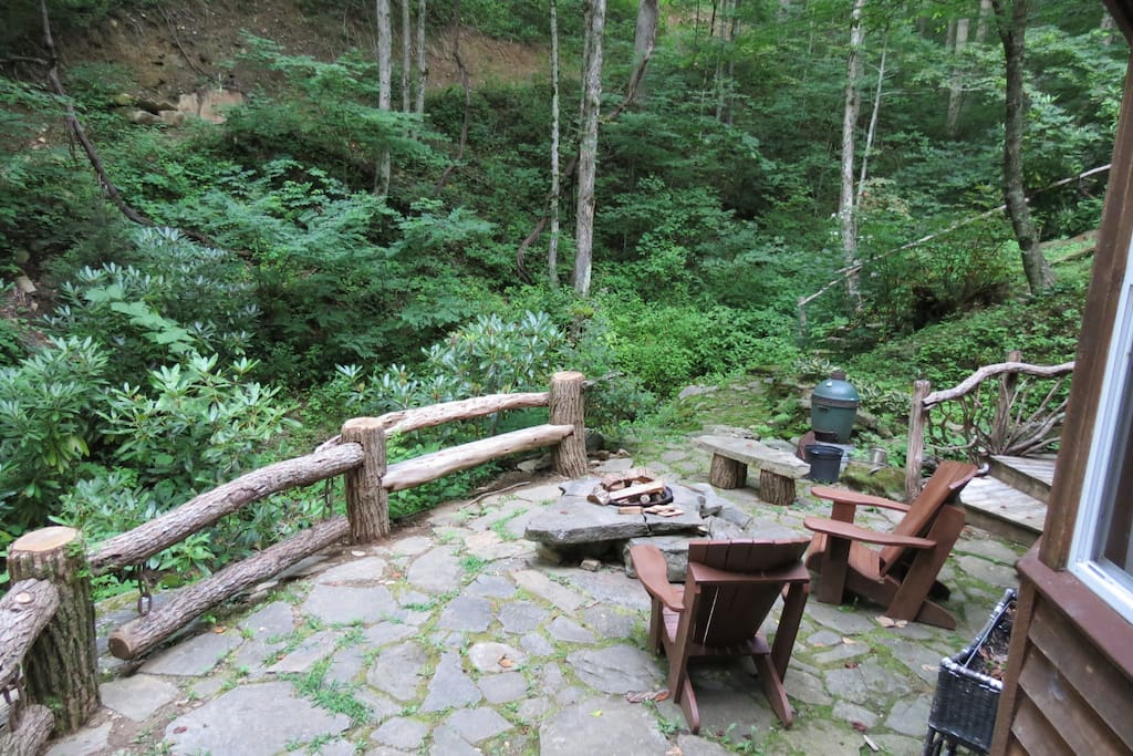 Side patio beside creek.