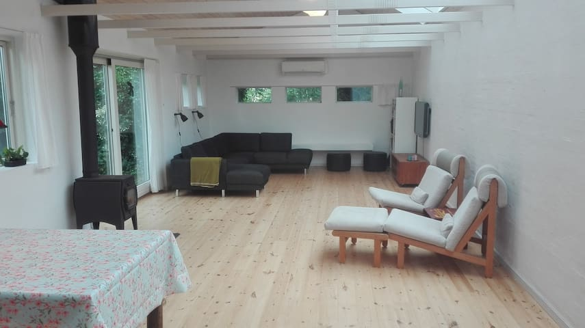 Atelieret indvendig. Pejs, fjernsyn med Chromecast og en stor sofa, som man kan sove en eller to personer i.