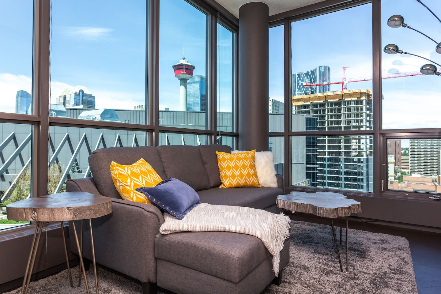 Living room with beautiful downtown views