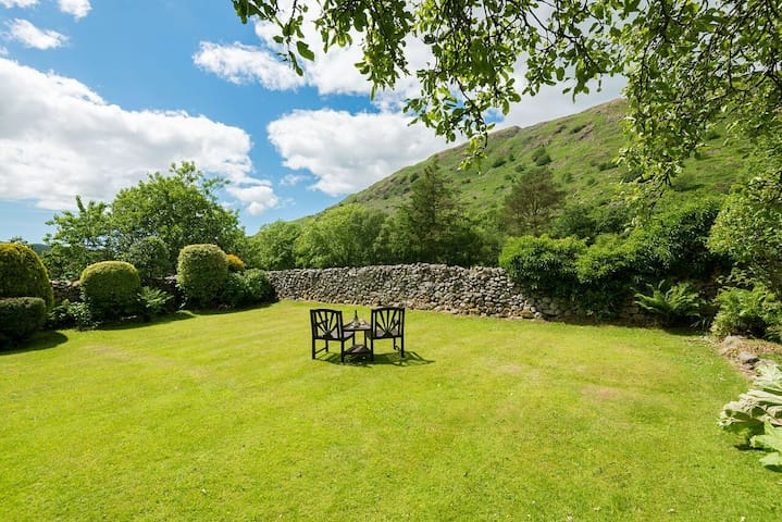 Walled garden adjacent to cottage with fabulous fell views