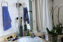 WC, con mármol, bañera-ducha, bidé y ventana exterior