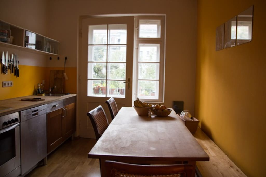 Kitchen - We love to cook and hang out here. I mean it has a balkony!