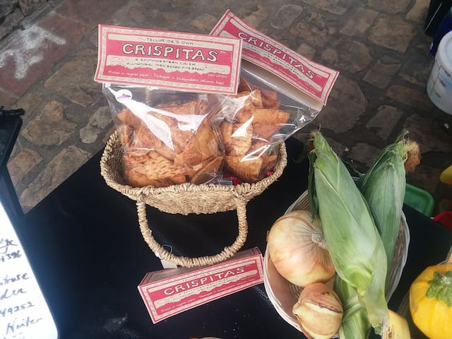 Chef Kendra used Biodegradable Cellulose Bags 28 years ago!  Back to Market at Plaza on the Market 2019, Crispitas, an oven baked chip, a Telluride local favorite hiking food paired with cheese and a charcuterie or apres ski or hike with a dip.