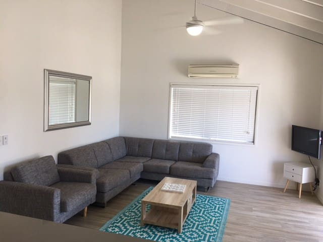 Living Room with Air Conditioning - opens out onto the deck