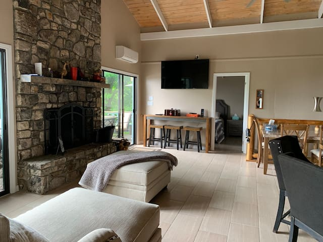Great room with first fireplace  Main level