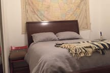 Pillow-top queen bed in separate bedroom space