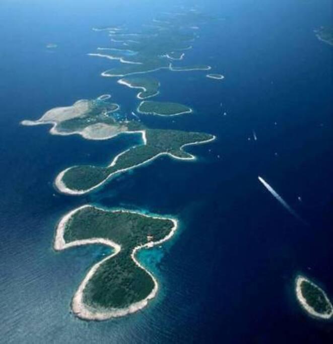 Paklinski islands in front of Hvar