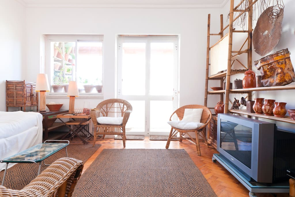 Bright Living Room / Potential 3rd Bedroom (double sofa bed) / Leading to Balcony