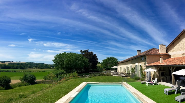 French Farmhouse Gite country views & private pool