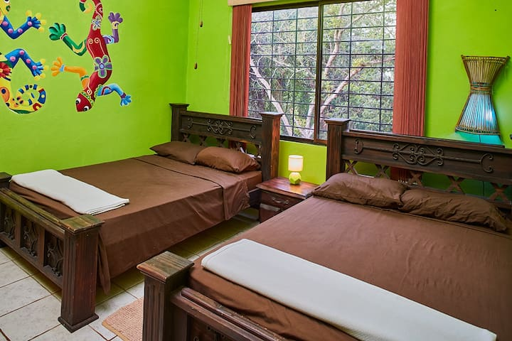 Iguana Room  sleeps 4,,, 2 comfortably, air conditioning ceiling fan large closet