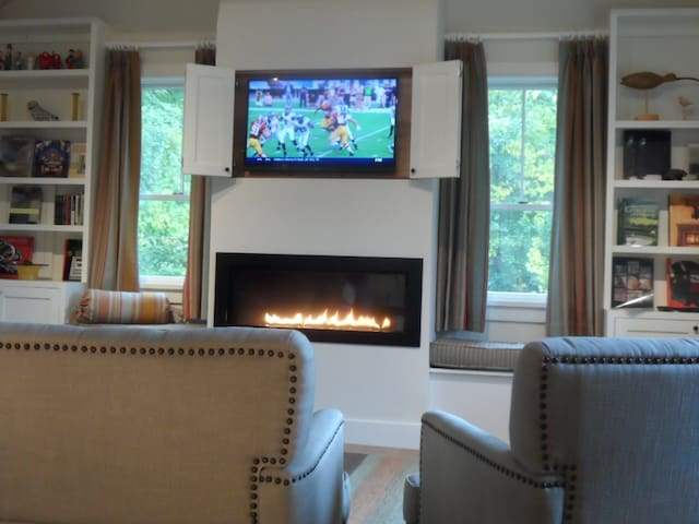 Football by the fire...