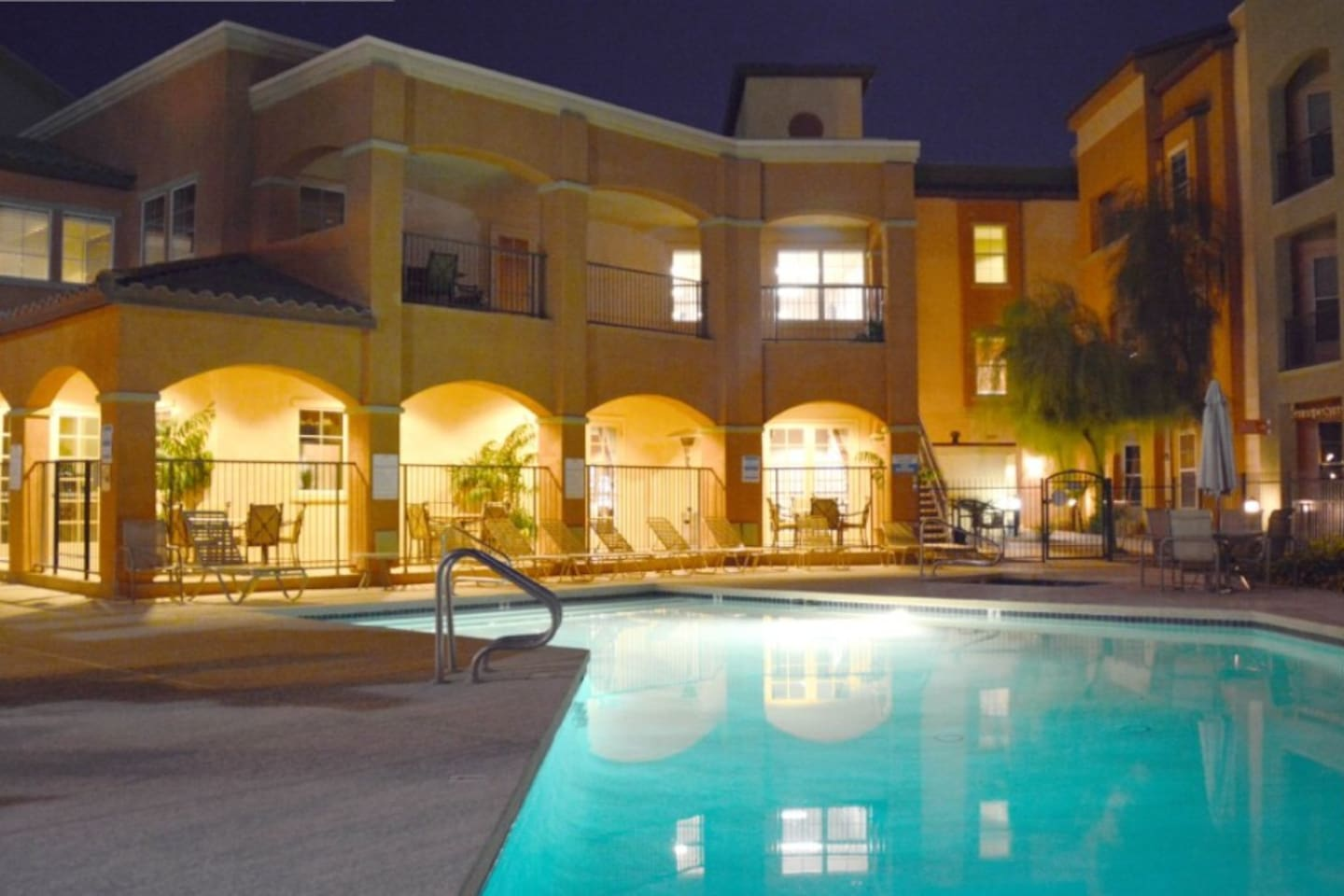 Heated pool and hot tub are a few steps from the unit.