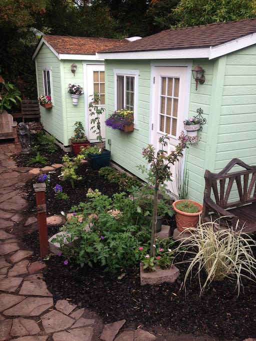 Your cottage with a lovely garden to enjoy! Please have some vegetables!