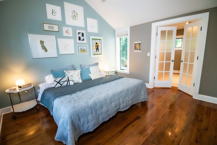 The master bedroom has a walk in closet that's like a bonus small bedroom or quiet space to hide from your in-laws.