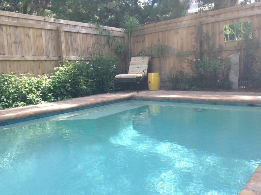 Guests say they love to come home to the poolside garden...it's like a little oasis.