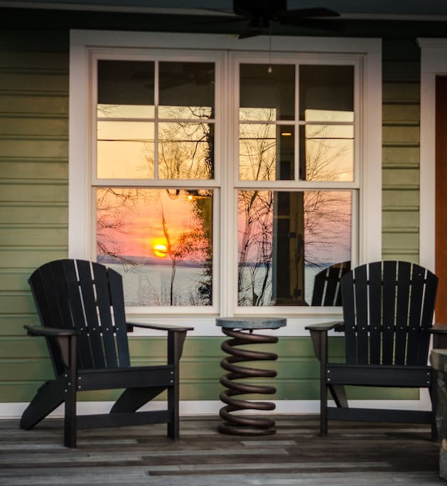 Porch with a water view