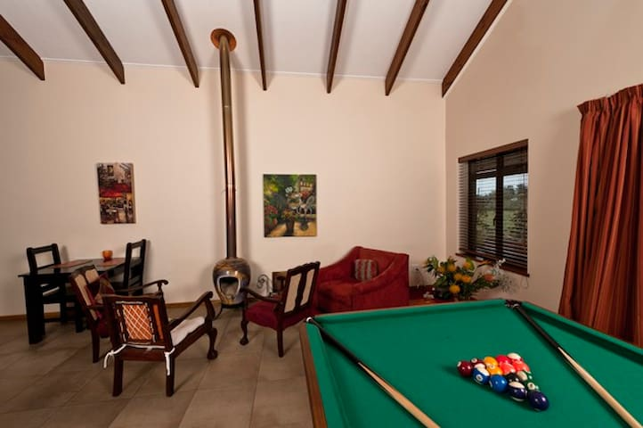 The communal guest lounge/kitchen is warm in winter and cool in summer. Hang out place for the family