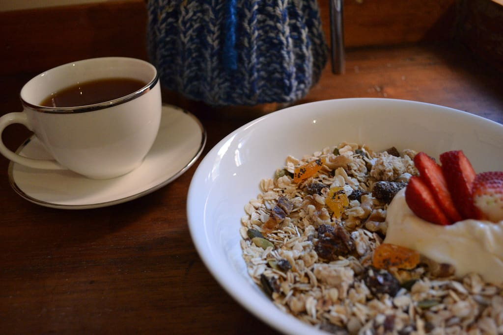 Home-made Muesli for breakfast, with milk, yogurt, tea and fruit.