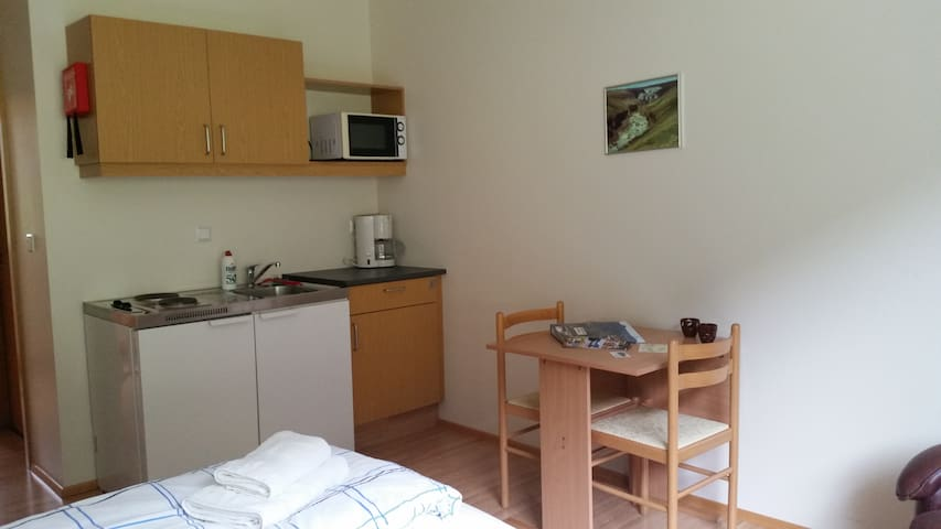 Small studio apartment for 2 persons, two single beds.