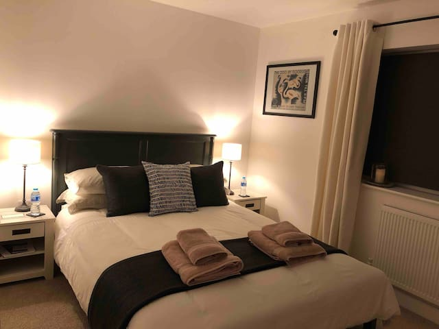Large room with king size bed and private bathroom