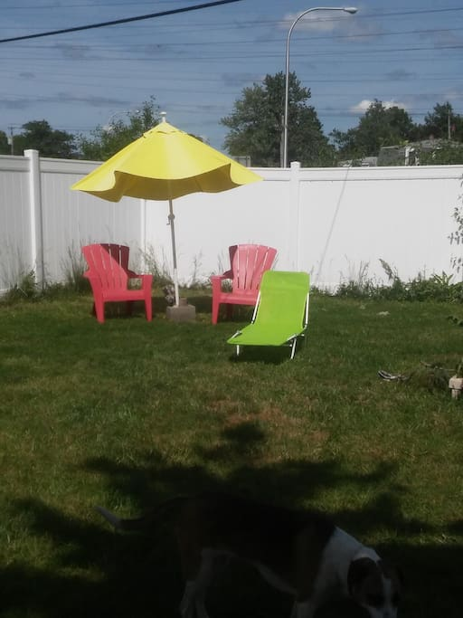 Partial yard pic. Has a firepit as well as 2 tier deck.