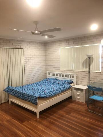 Good sized, well lighted room with ceiling fan