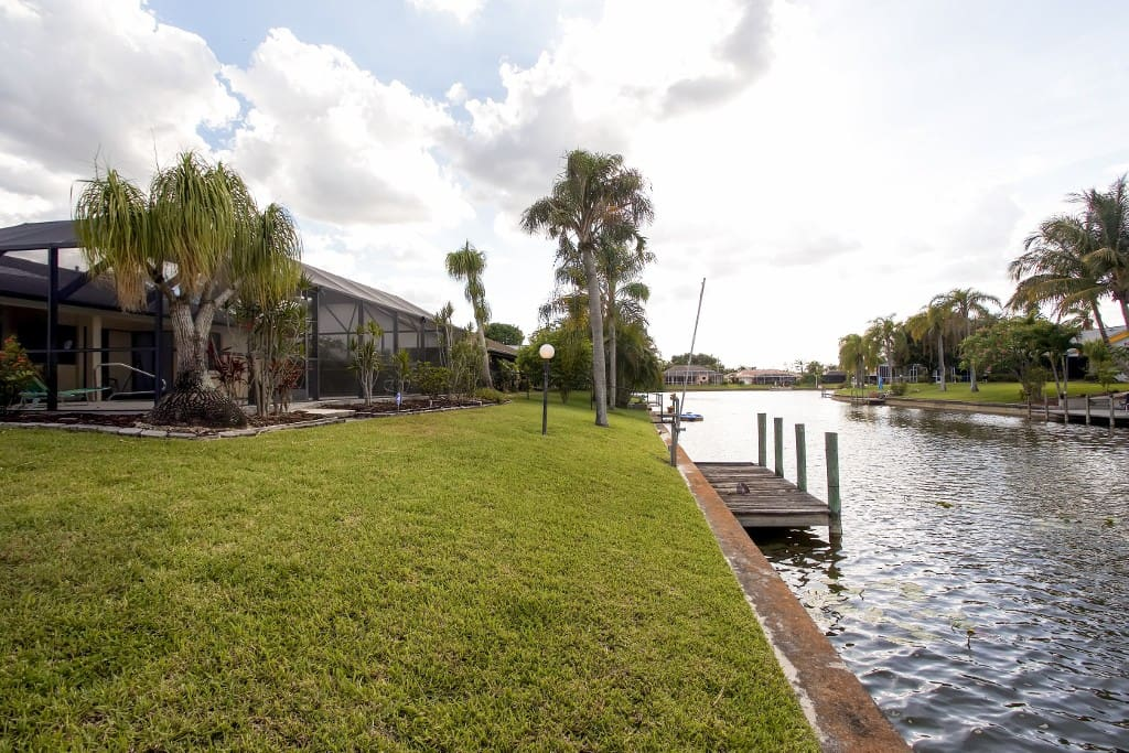 This prime canalfront location offers easy water access.