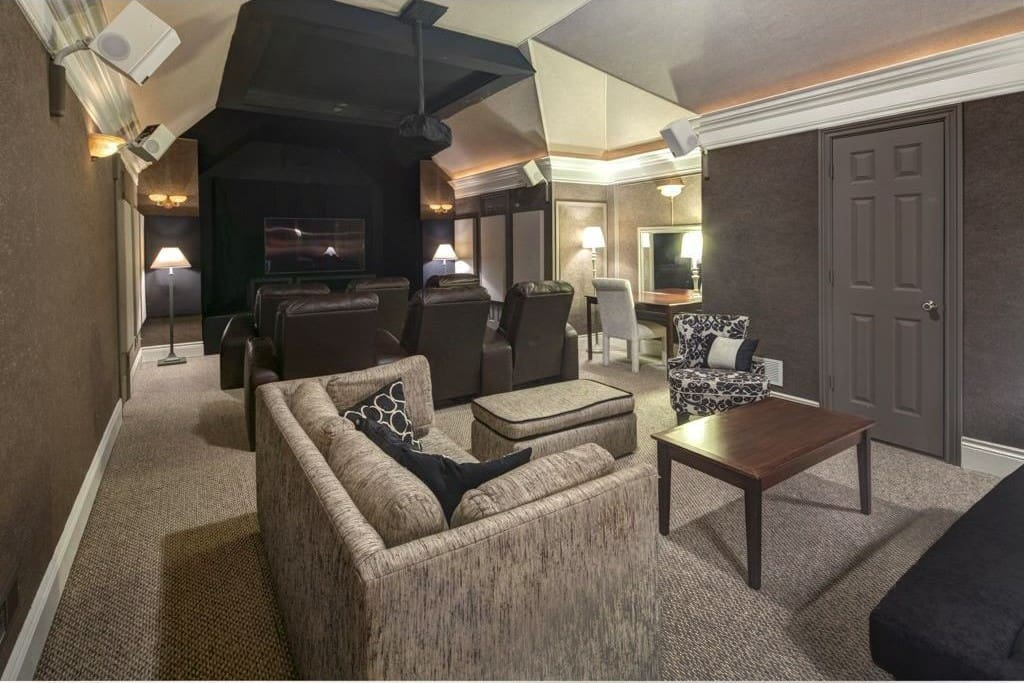 The soundproof movie theater/tv room and lounge area.  Bonus room over garage.