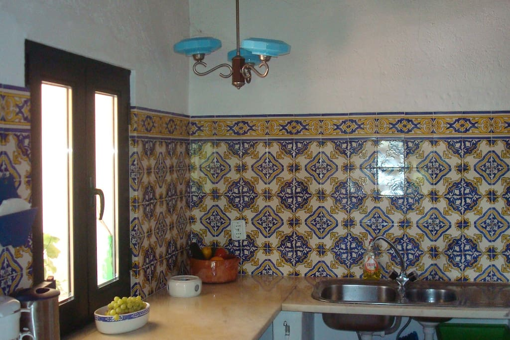 Kitchen's interiour with Portuguese tiles