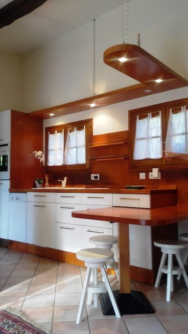 the wooden paneled kitchen
