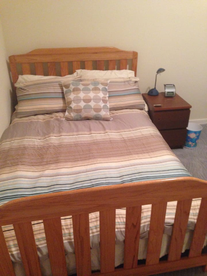 We have upgraded the comforter to a down duvet and the pillows to feather pillows. All sheets and pillow cases are high thread count and super soft.