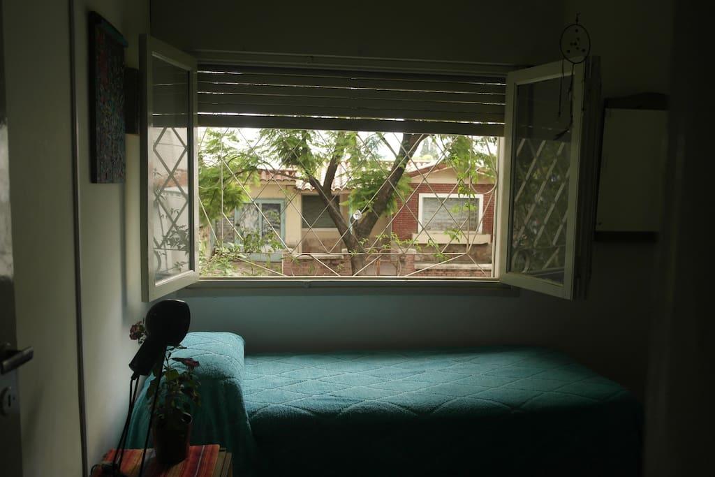 la ventana de la habitación da al jardín