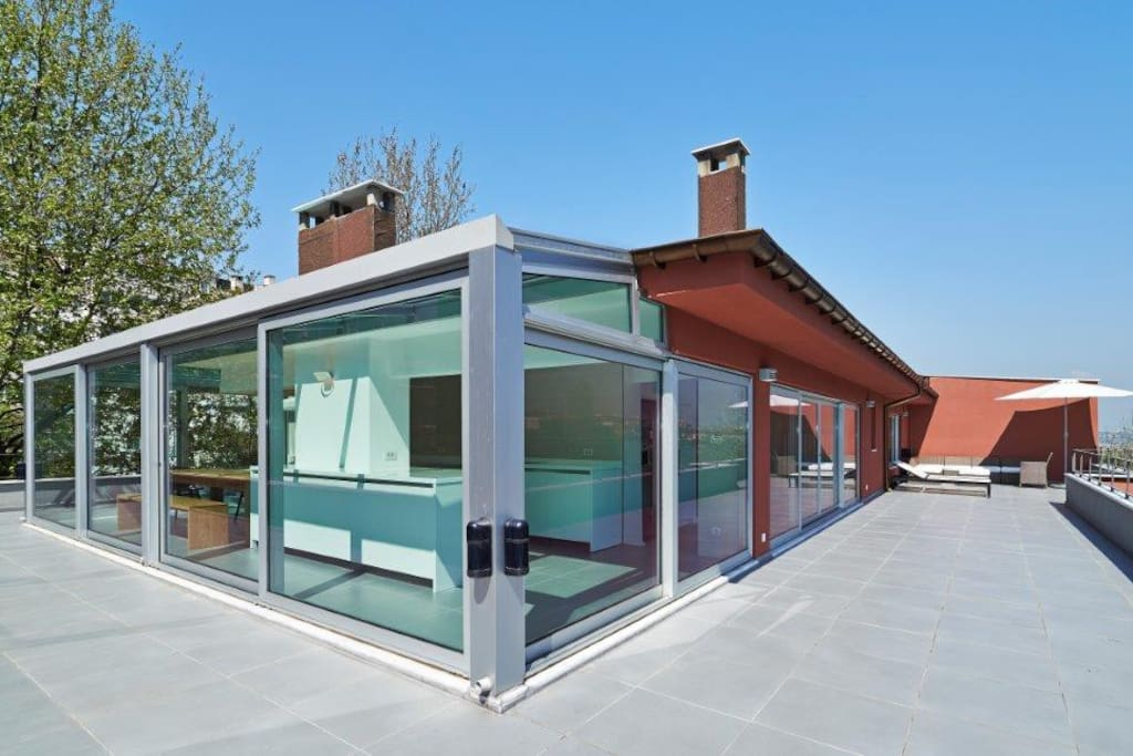 A stunning 180 degree terrace encompassing the penthouse.