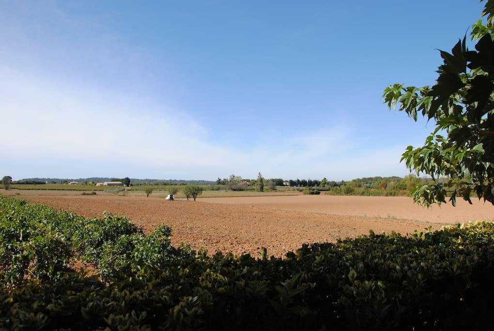 Vue plein sud sur la campagne aixoise, depuis la terrasse, l'espace piscine et les chambres