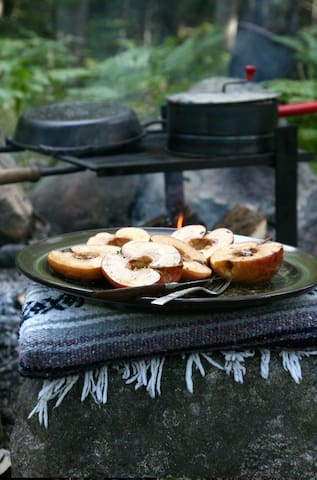 """Campfire cooking  """"Waking up with the sunrise and spending evenings warming up next to a campfire by the Pere Marquette made the days feel more connected to the natural beauty of the area.""""-Anthony Oct 2017"""