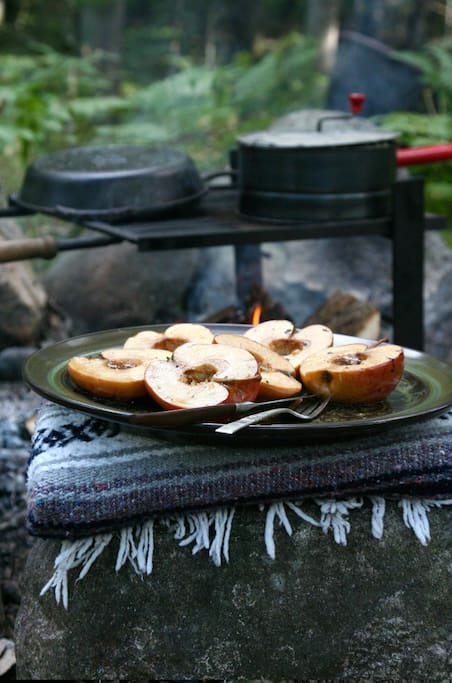 "Campfire cooking  ""Waking up with the sunrise and spending evenings warming up next to a campfire by the Pere Marquette made the days feel more connected to the natural beauty of the area.""-Anthony Oct 2017"