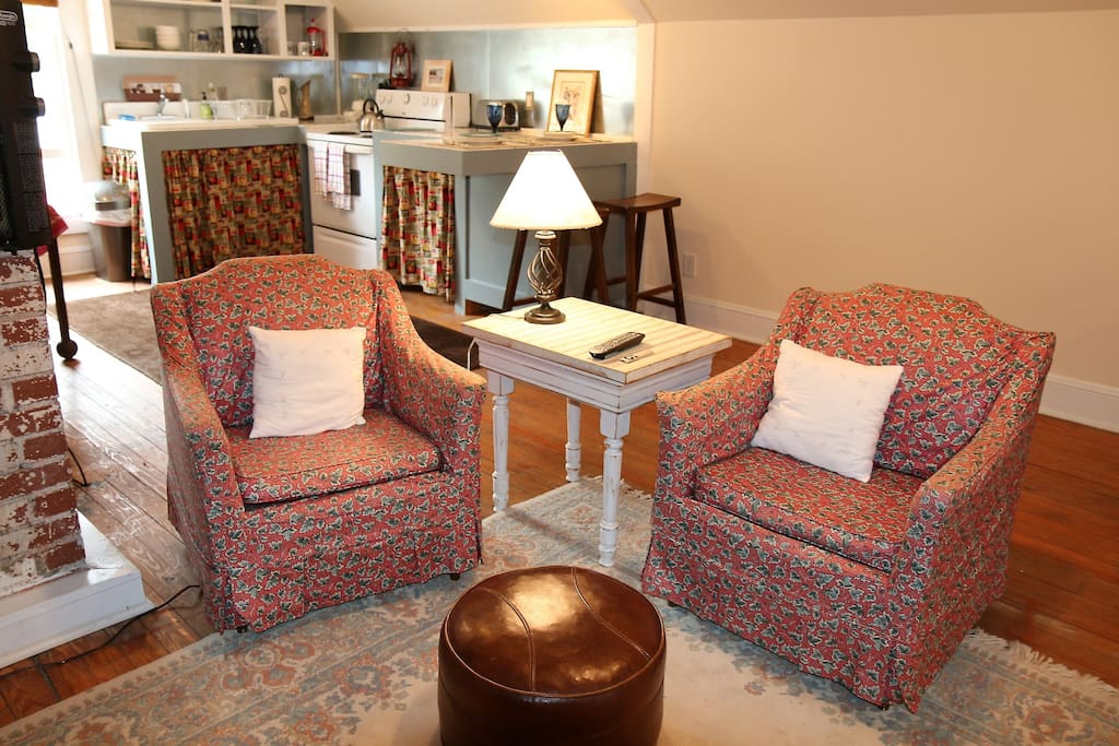 Easy chairs in the living area.