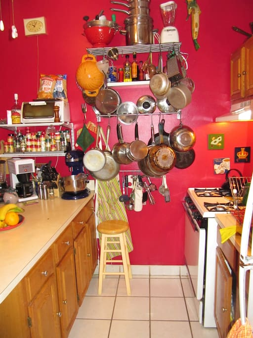 We love to cook!  This is how we organize our kitchen, Brooklyn style.  Up and out of the way!