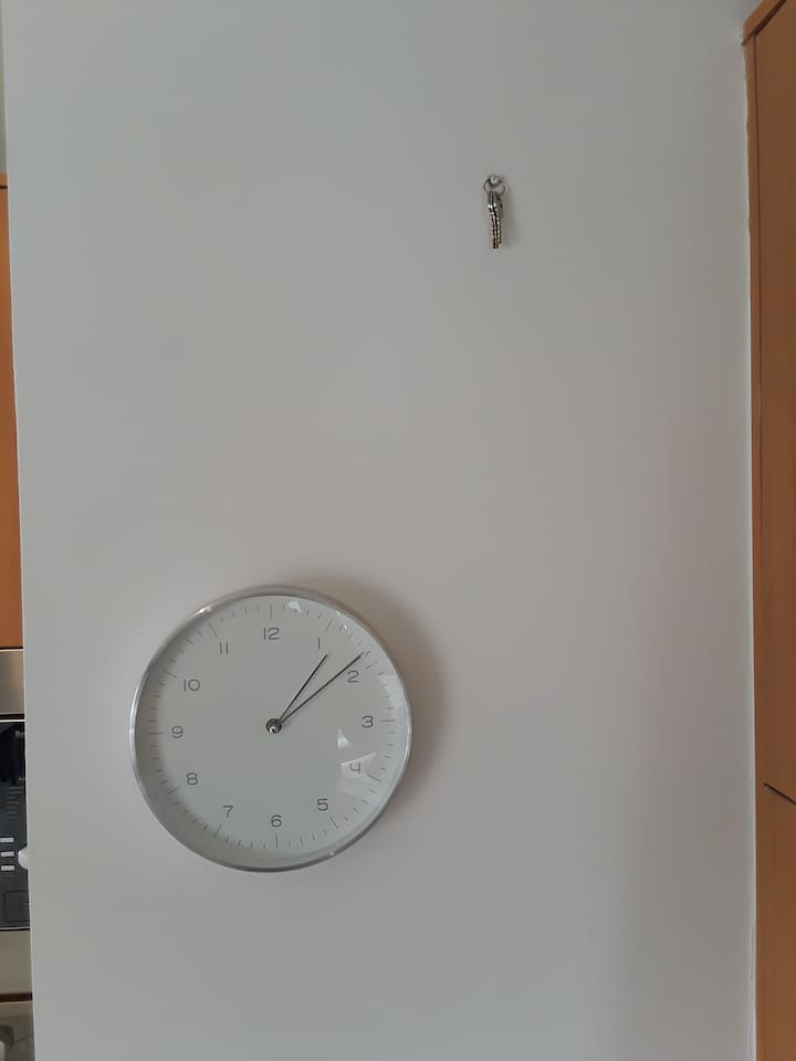 In case you really want to know what time it is and the keys to the bedroom in case you want to lock or get locked out.