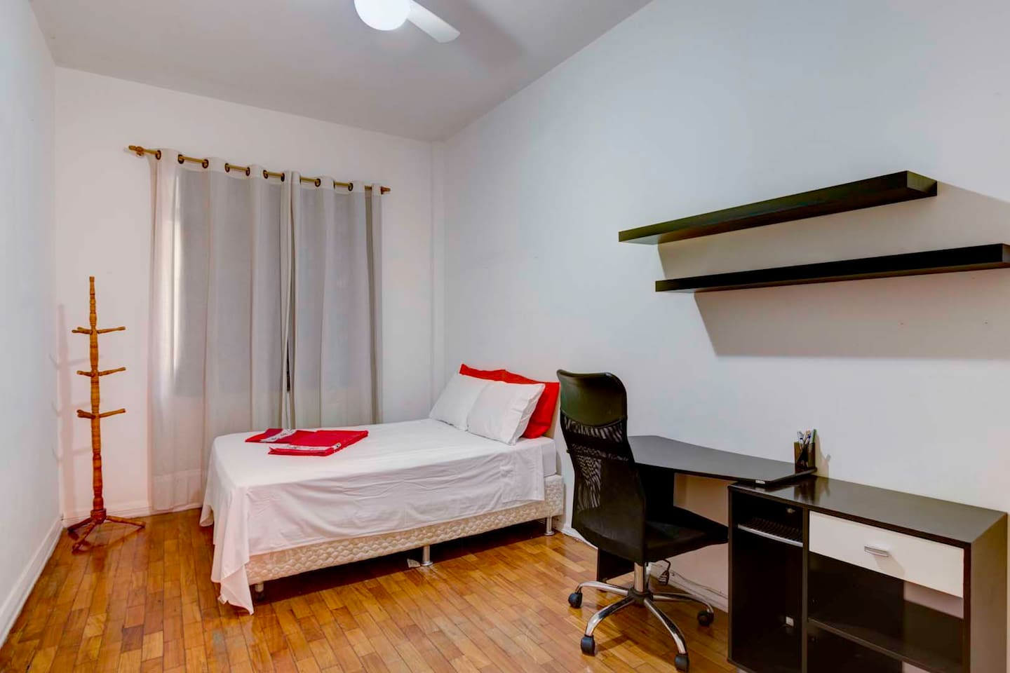Your bedroom with a  comfortable double size bed and a desk
