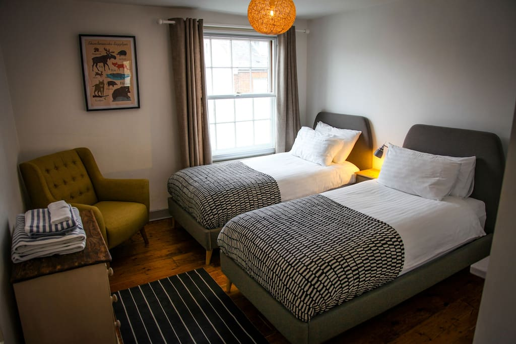 2 stylish bedrooms with comfy beds. The beds in this room can be made into one Super King Size.