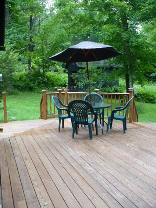 Seating on the deck - kick back at the end of the day and relax under the Guiness umbrella!