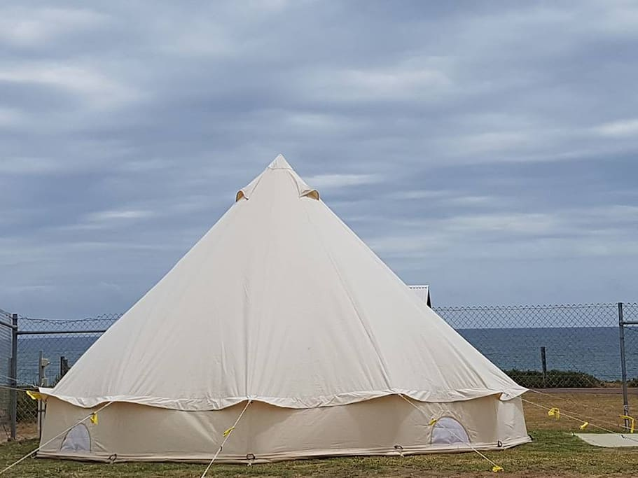 Bell tent with an ocean view