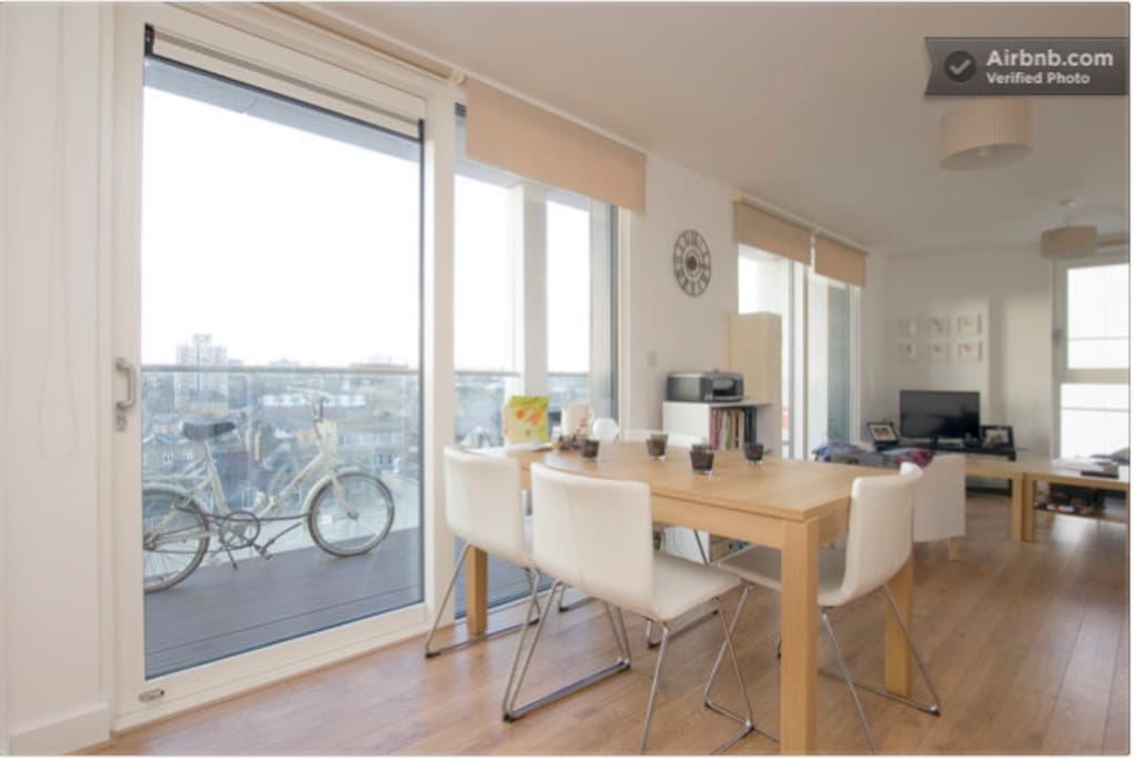 Kitchen table and balcony