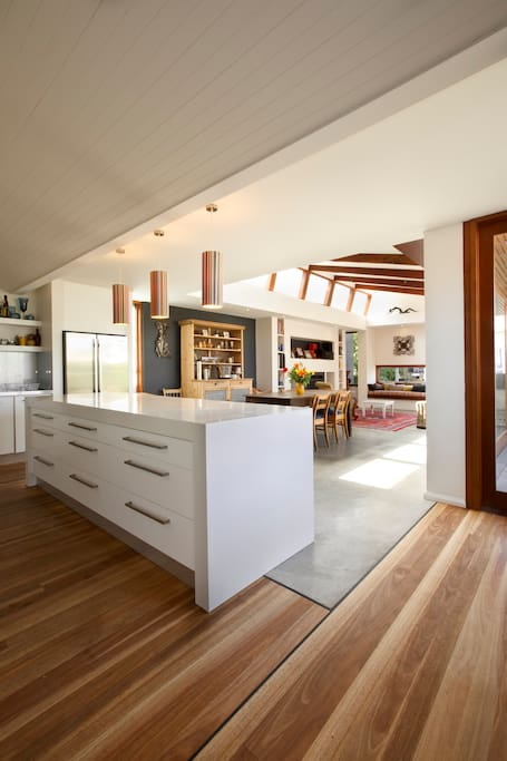 Large open plan kitchen and entertaining area
