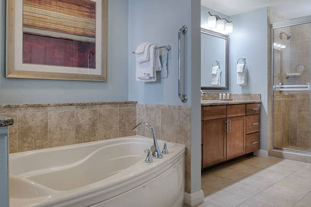 Master bath located in bedroom