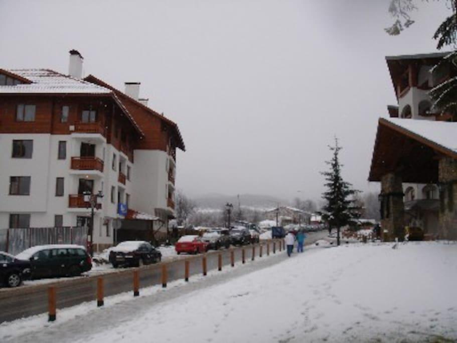 Apartment in Winter (Kempinski Hotel on right)