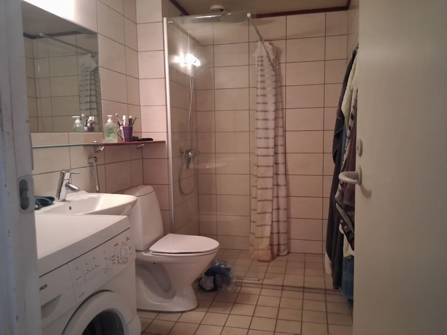 Bathroom with both large overhead shower and smaller handheld shower head.