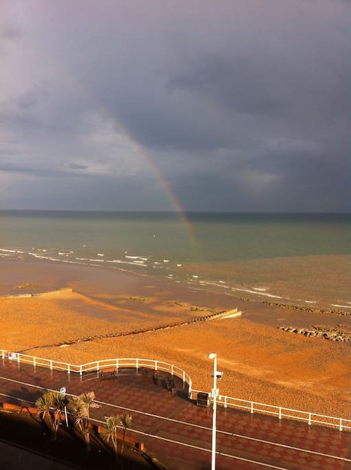 View of the sea from the flat - a rainbow