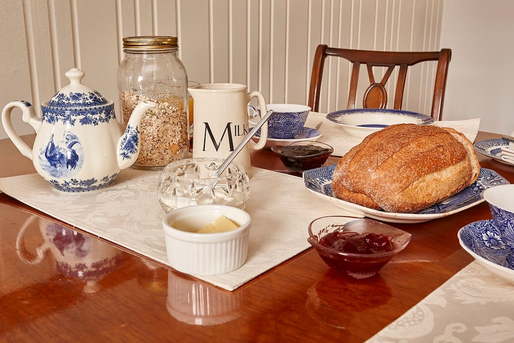 Blue and white china complements Tasmanian artisan bread and homemade quince  jelly.